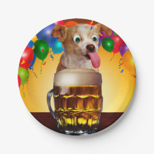 dog beer-funny dog-crazy dog-cute dog-pet dog paper plate  sc 1 st  Zazzle CA & Dog Cartoon Plates | Zazzle.ca
