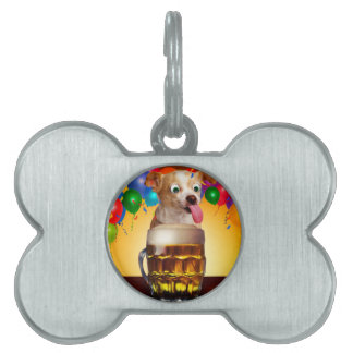 dog beer-funny dog-crazy dog-cute dog-pet dog pet ID tag