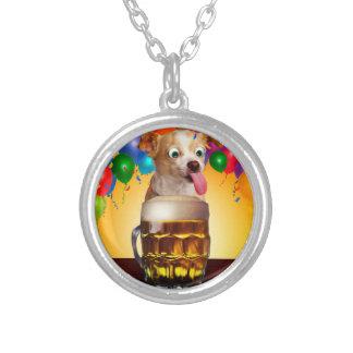dog beer-funny dog-crazy dog-cute dog-pet dog silver plated necklace