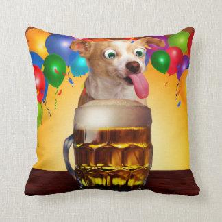 dog beer-funny dog-crazy dog-cute dog-pet dog throw pillow