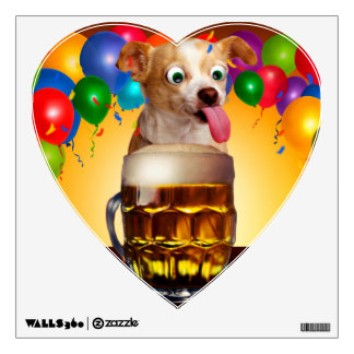 dog beer-funny dog-crazy dog-cute dog-pet dog wall decal
