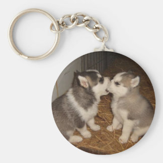 dog biting dogs mouth keychain