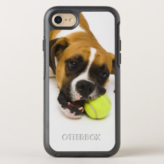Dog biting tennis ball OtterBox symmetry iPhone 7 case