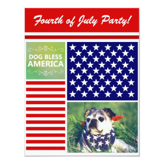 Dog Bless America Patriotic Card