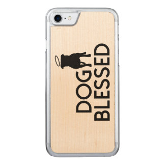 """Dog Blessed"" Pit Bull Angel Carved iPhone 7 Case"