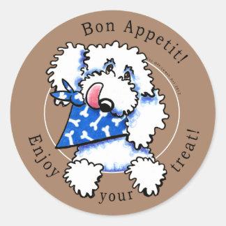 Dog Bon Appetit! Pet Treats Labels Taupe Brown Round Sticker