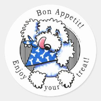 Dog Bon Appetit! Pet Treats Labels White Round Sticker