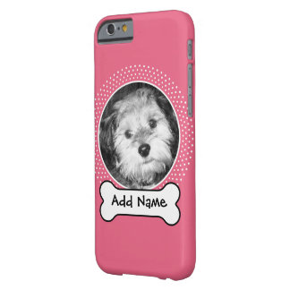 Dog Bone and Custom Pet Photo - pink white Barely There iPhone 6 Case