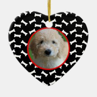 Dog Bone Christmas Puppy Picture Custom Date Ceramic Ornament