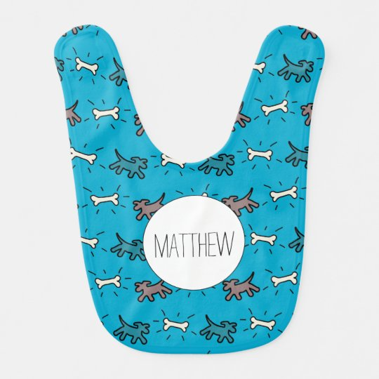 Dog Bone Graffiti Style Name Blue Baby Bib