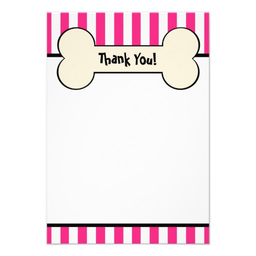Dog Bone Pink Striped Flat Thank You Note Card Custom Announcements