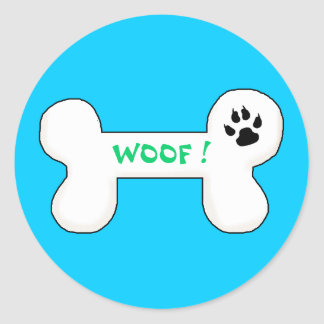 Dog Bone Woof Funny Pet Classic Round Sticker