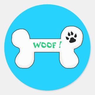 Dog Bone Woof Funny Pet Round Sticker