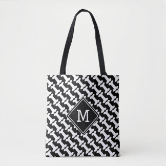 Dog Bones Pattern Black and White Monogram Tote Bag