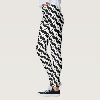 Dog Bones Pattern for Dog Lovers Black and White Leggings