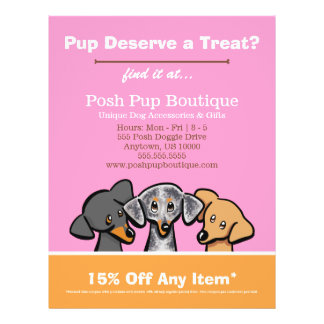 Dog Boutique Shop Three Pups Pink Coupon Ad Full Color Flyer