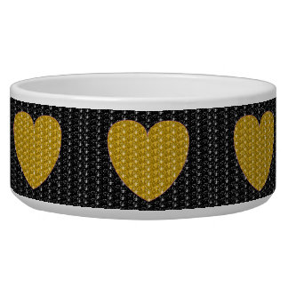 Dog Bowl Black Gold Heart Glitter