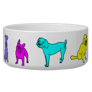 dog bowl colorful doggies