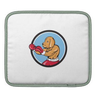Dog Boxer Fighting Stance Circle Cartoon Sleeves For iPads