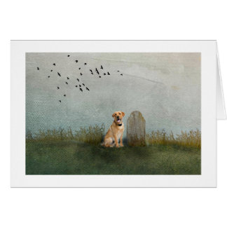 Dog by owners grave card