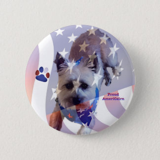 Dog Cairn Terrier America Flag Pride Button