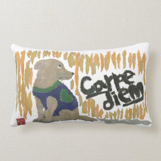 Dog, Carpe Diem, Latin Phrase Lumbar Pillow