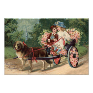 Dog Carriage Children Forget Me Not Daisy Photographic Print