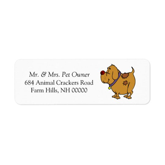 Dog Cartoon Return Address Mail Labels Stickers