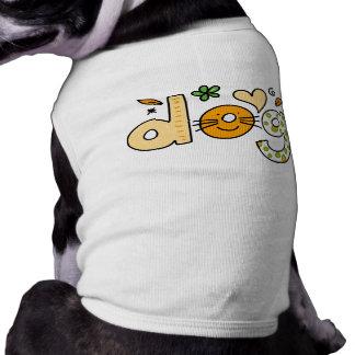 Dog Cartoon White Pet Ribbed Tank Top Dog Tee Shirt