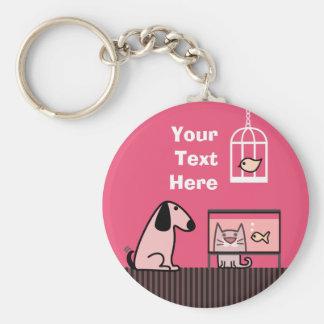 Dog Cat and Aquarium keyring Basic Round Button Keychain
