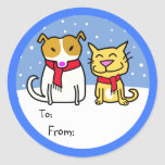 Dog & Cat Gift Tags Classic Round Sticker