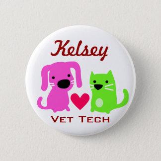 Dog Cat & Heart Vet Tech 2 Inch Round Button