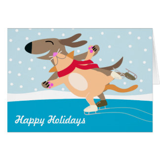 Dog & Cat Ice Skating-Happy Holidays Card