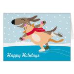Dog & Cat Ice Skating-Happy Holidays Greeting Card