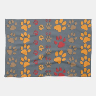 Dog & Cat Paw prints Design ~ editable background Hand Towels