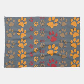 Dog & Cat Paw prints Design ~ editable background Kitchen Towel