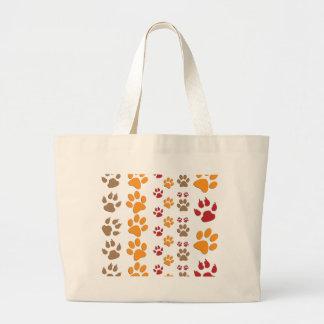 Dog & Cat Paw prints Design ~ editable background Large Tote Bag