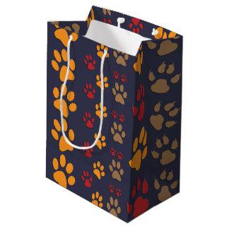 Dog & Cat Paw prints Design ~ editable background Medium Gift Bag