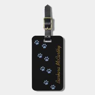 dog cat pawprints personalized luggage tag