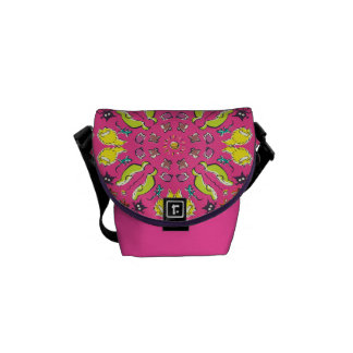Dog cat Pink colorful cute symmetry Courier Bag