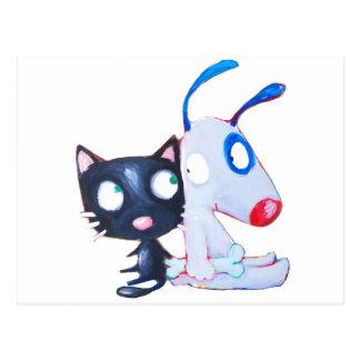 dog & cat postcard