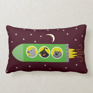 Dog & Cat Rocket Ship Lumbar Pillow