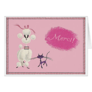 "Dog & Cat say ""Merci!"" Card"