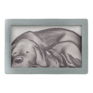 Dog & Cat Snuggle Sleeping Rectangular Belt Buckle