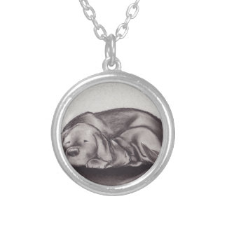 Dog & Cat Snuggle Sleeping Silver Plated Necklace