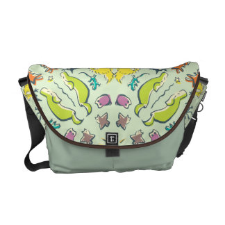 Dog cat sparrow Colorful cute symmetry Messenger Bags