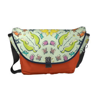 Dog cat sparrow Colourful cute symmetry Messenger Bag