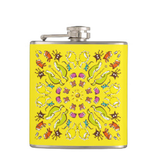 Dog cat sparrow Yellow cute symmetry Hip Flask