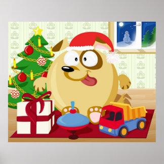 Dog celebrates Christmas Print