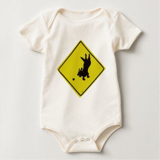 Dog Chasing Ball Street Sign Baby Bodysuit